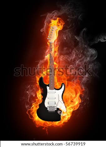 Electric guitar in fire flames isolated on black background.  - stock photo