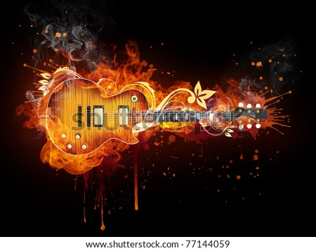 Electric guitar in fire. Illustration of the electric guitar enveloped in flames isolated on black background. High resolution electric guitar in fire image for a guitar concert poster or banner. - stock photo