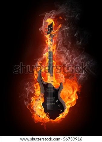 Electric Guitar in fire Isolated on Black Background. Computer Graphics. - stock photo