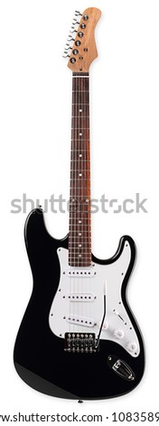 electric guitar in front of white background - stock photo