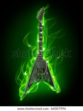 Electric guitar in green fire and flame - stock photo
