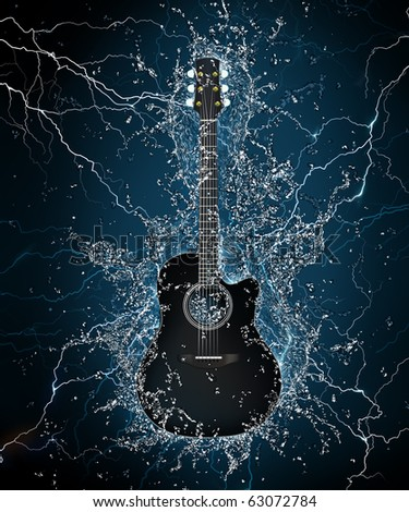 Electric Guitar in Water on Black Background. Computer Graphics. - stock photo