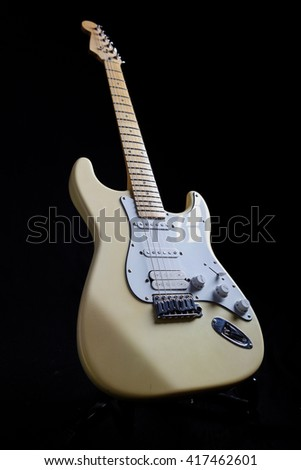 Electric guitar isolated on the black background