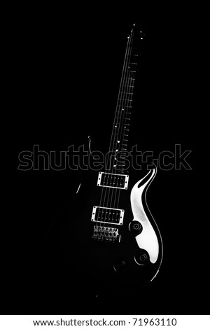 Electric guitar isolated on the black background - stock photo