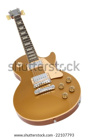 Electric guitar isolated on white. - stock photo
