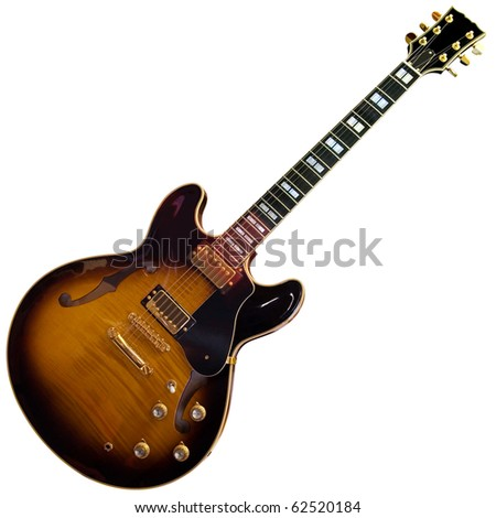 Electric guitar isolated on white background with clipping path