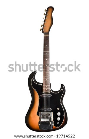 Electric guitar isolated on white with clipping path