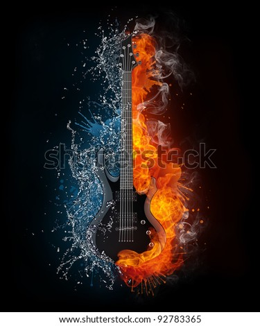 Electric Guitar on Fire and Water Isolated on Black Background. Computer Graphics. - stock photo