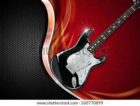 Electric Guitar on Luxury Background / Electric Guitar on red velvet with metal wave and black background with hexagons - stock photo