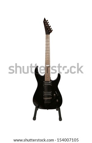 Electric guitar on stand isolated on white background - stock photo