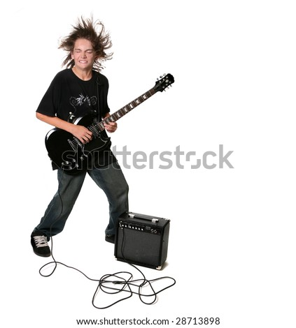 Electric Guitar Playing Teenage Kid With Eyes Closed on White Background - stock photo