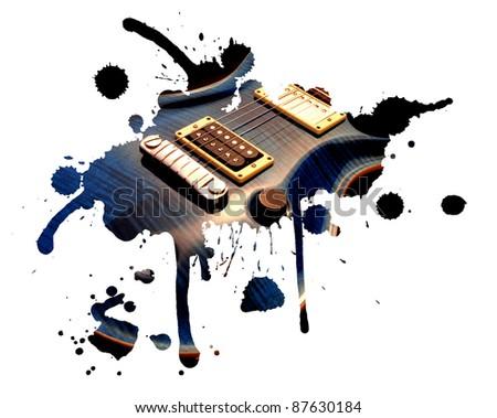 Electric guitar splash - stock photo