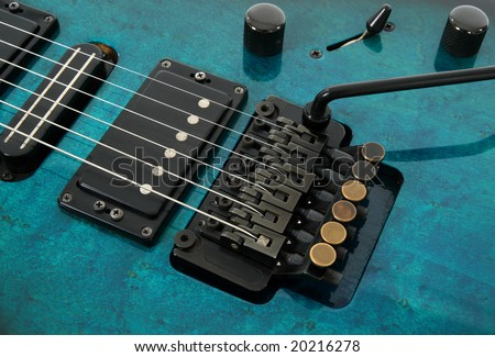 Electric guitar tremolo system and pickups.