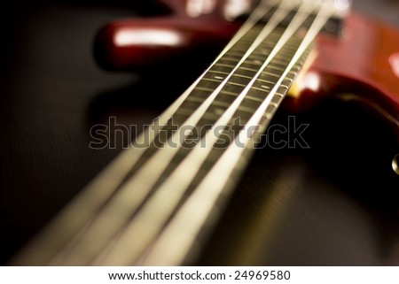 Electric guitar with depth of field. Bass guitar. - stock photo