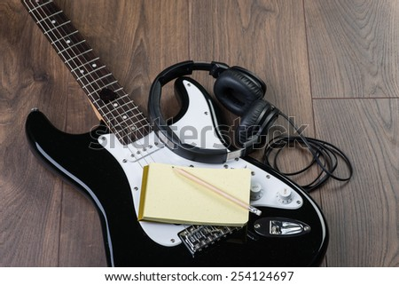 electric guitar headphones notepad pencil on stock photo 254124697 shutterstock. Black Bedroom Furniture Sets. Home Design Ideas