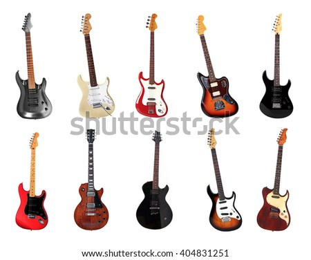 Electric guitars isolated on white - stock photo