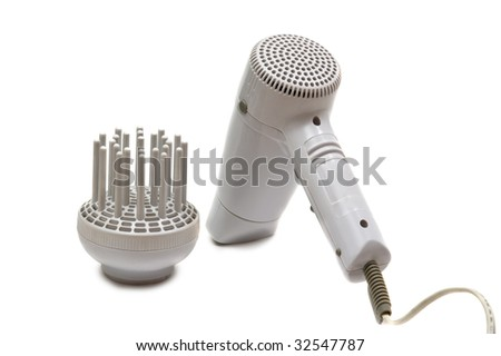 electric hair drier isolated on white - stock photo