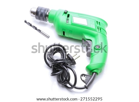 Electric hammer drill isolated on white background - stock photo