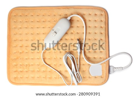 Electric heating pad on white background - stock photo