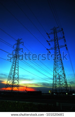 electric high voltage power poles - stock photo