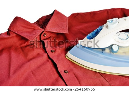 Electric iron, stroking a red shirt on a white background.