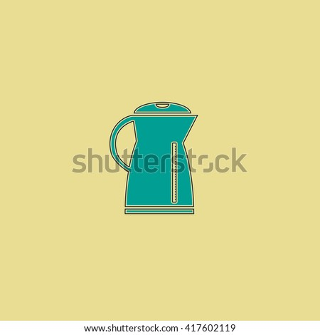 Electric kettle. Grren simple flat symbol with black stroke over yellow background