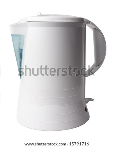 Electric kettle isolated on white - stock photo
