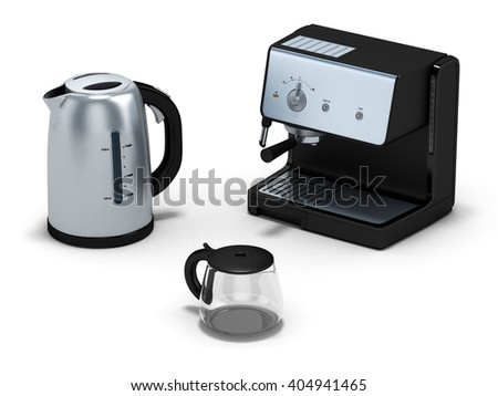 Electric kettle with coffee maker isolated on white.3D illustration.