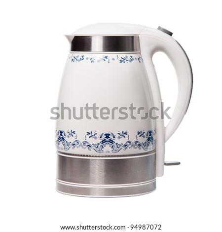 Electric kettle with ornaments by gzhel. Isolated on white background