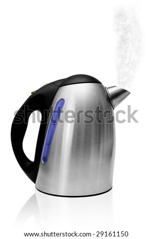 Electric kettle with steam isolated on white