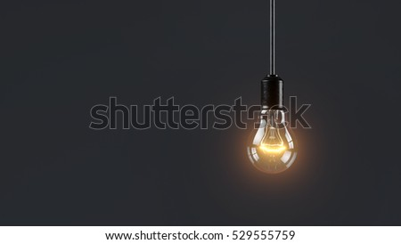 Electric lamp hanging on a wire in the room. Loneliness concept 3d