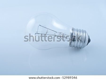 Electric lamp on the blue background.