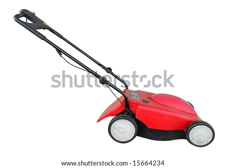 Electric Lawn Mower isolated with clipping path - stock photo