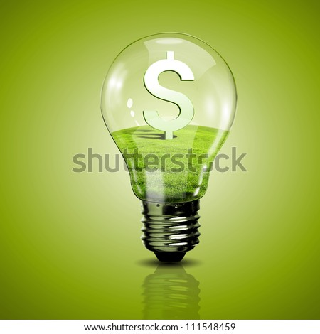 Electric light bulb and currency symbol inside it as symbol of green energy - stock photo
