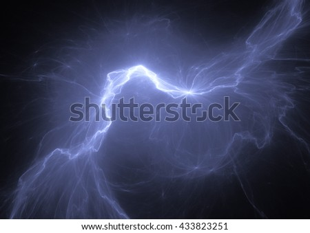 Electric lighting, abstract blue storm - stock photo