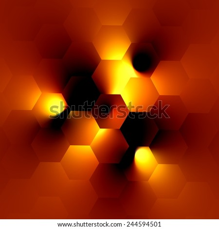 Electric Lighting Effect - Glowing Light Bulb on Orange Background - Modern Illustration Design - Bright Center Spotlight and Black Shadow - Abstract Soft Blurry Generative Art - Artistic Surreal - stock photo