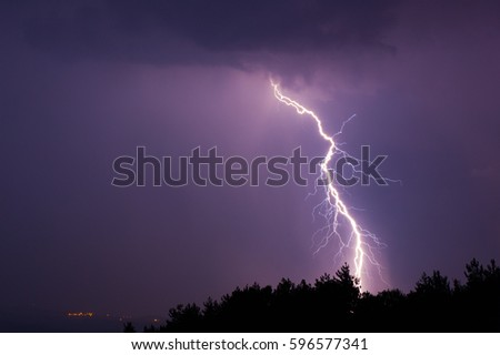 Electric lightning during summer storms at night