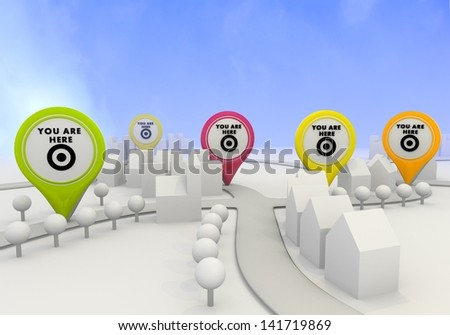 Electric lime  little village 3d graphic with light you are here sign on four map marker - stock photo
