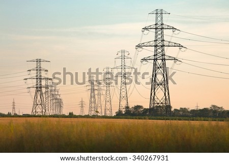 Electric lines - stock photo