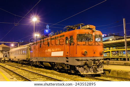 Electric locomotive at Belgrade station - Serbia - stock photo