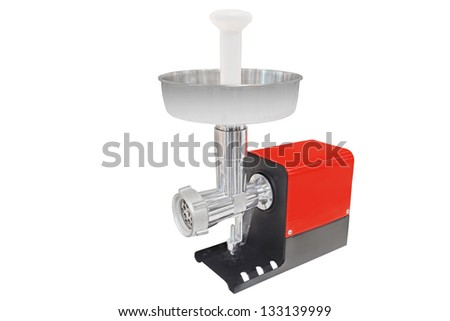 electric meat grinder under the white background