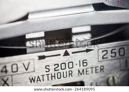 Electric meter dial close-up - stock photo