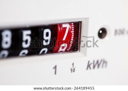 Electric meter  display and dials close-up - stock photo
