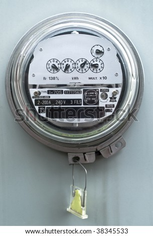 Electric meter front view - stock photo