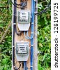 Electric meter group on the power pole in countryside of Thailand - stock photo