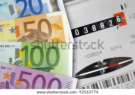electric meter with euro - stock photo