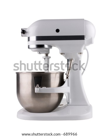 Electric mixer isolated on white with clipping path. - stock photo