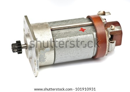 Electric motor DC on a white background - stock photo