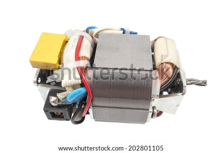Electric motor isolated on white background - stock photo