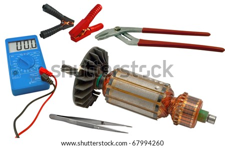 Electric motor rotor and tools for home electrical repair isolated white background - stock photo